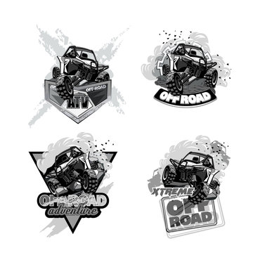 ATV Off-Road Buggy, Black and White Logo.