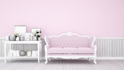Living room decoration on pink tone for artwork - Pink sofa and decoration set in pink room artwork for apartment or home - Interior classic style - 3D Rendering