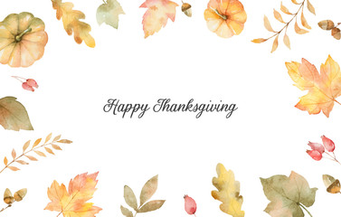 Watercolor autumn vector hand painting card with leaves and branches isolated on white background.