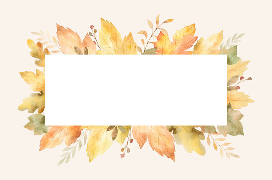Watercolor autumn banner with leaves and branches isolated on white background.