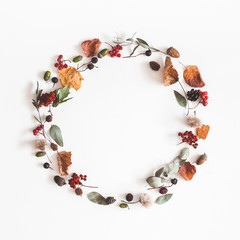 Autumn composition. Wreath made of eucalyptus branches, rose flowers, dried leaves on white background. Autumn, fall concept. Flat lay, top view, copy space, square