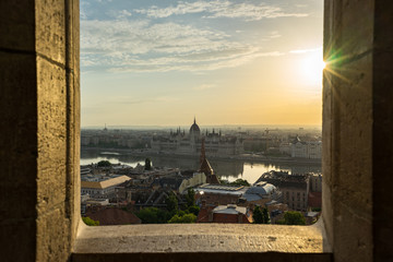 Wall Mural - Sunrise view of Budapest city skyline in Hungary