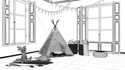 Interior design project, black and white ink sketch, architecture blueprint showing modern nursery child bedroom with toy tent