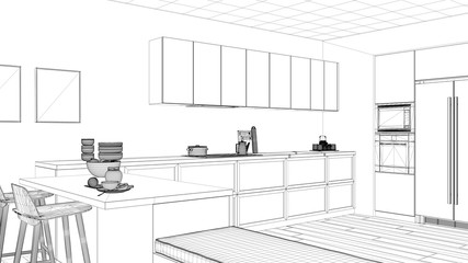 Interior design project, black and white ink sketch, architecture blueprint showing minimalist kitchen