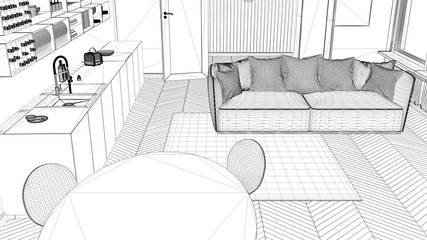 Interior design project, black and white ink sketch, architecture blueprint showing contemporary kitchen with sofa and carpet