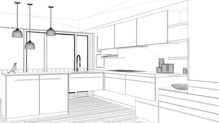 Interior design project, black and white ink sketch, architecture blueprint showing contemporary kitchen