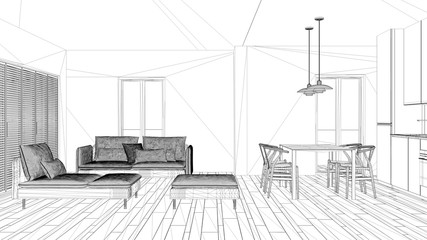 Interior design project, black and white ink sketch, architecture blueprint showing modern living room with kitchen