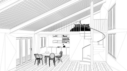 Interior design project, black and white ink sketch, architecture blueprint showing modern kitchen with staircase and mezzanine
