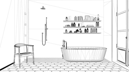 Interior design project, black and white ink sketch, architecture blueprint showing classic bathroom with bathtub