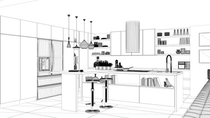 Interior design project, black and white ink sketch, architecture blueprint showing contemporary kitchen with island and stools