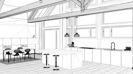 Interior design project, black and white ink sketch, architecture blueprint showing contemporary kitchen with wooden roof