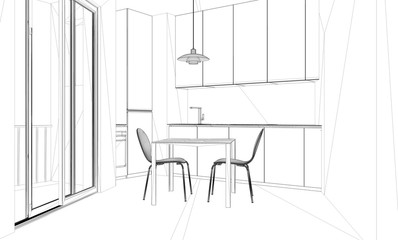 Interior design project, black and white ink sketch, architecture blueprint showing contemporary kitchen with dining table