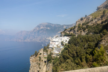 A view of the Amalfi Coast between Amalfi and Positano. Campania. Italy