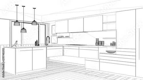 Interior Design Project Black And White Ink Sketch Architecture Beauteous Blueprint Interior Design