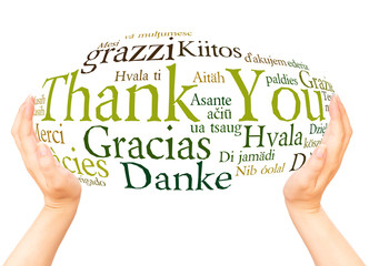 Thank You in different languages hand sphere