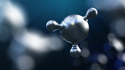 3D illustration of abstract silver metal molecule background