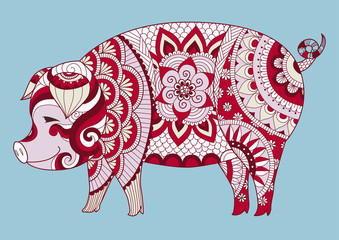 Zendoodle design of cute colorful pig for t shirt design, tattoo and sign of 2019. Vector illustration