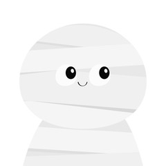 Mummy monster. Cute cartoon funny spooky baby character. Mum head face. Happy Halloween. Greeting card. Flat design. White background. Isolated.