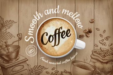 Coffee ads in engraving style