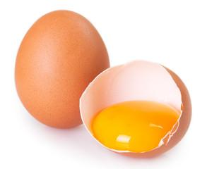 Raw egg on white background