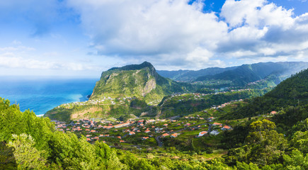 Wall Mural - View of Faial village and Eagle rock, Madeira island, Portugal