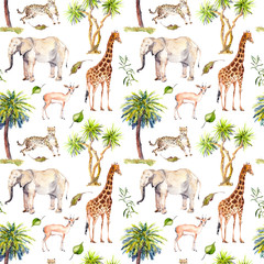 Wild animals - giraffe, elephant, cheetah, antelope in savannah and palm trees. Repeating background. Watercolor