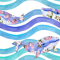 Whales in pink flowers in waves, stripes. Seamless pattern. Watercolor