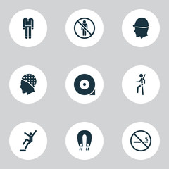 Protection icons set with hat, strong magnetic field, stop and other do not enter  elements. Isolated vector illustration protection icons.