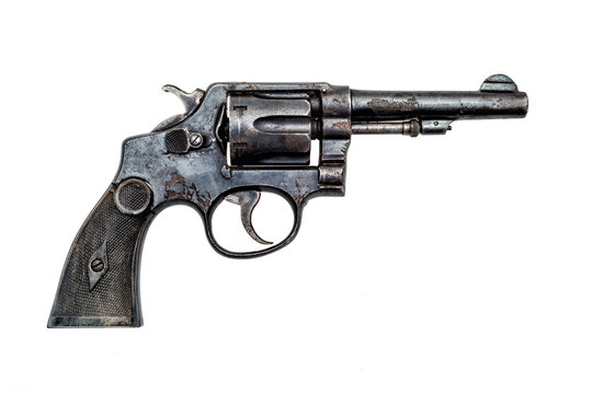 old military police rusty revolver handgun on white background