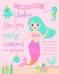 Cute mermaid and marine life illustration for party invitation card template