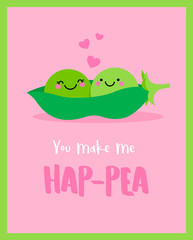 Cute couple of green pea in a pod illustration in love concept for valentine's day card design