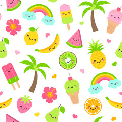 Cute fruits and desserts cartoon seamless pattern background
