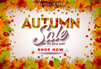 Autumn Sale Design with Falling Leaves and Lettering on White Background. Autumnal Vector Illustration with Special Offer Typography Elements for Coupon, Voucher, Banner, Flyer, Promotional Poster or