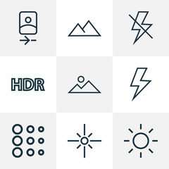 Photo icons line style set with lightning, mountain, smartphone and other flare