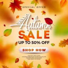 Autumn Sale Design with Falling Leaves and Lettering on Light Background. Autumnal Vector Illustration with Special Offer Typography Elements for Coupon, Voucher, Banner, Flyer, Promotional Poster or