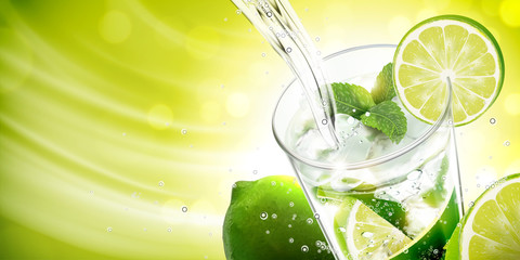 Liquid pouring into mojito