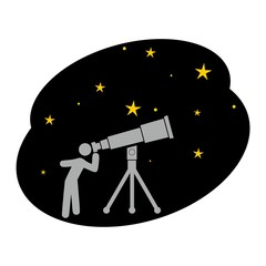 Star and telescope on white background