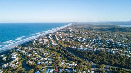 Aerial shot of beach around Noosa