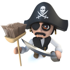 3d Funny cartoon pirate captain character holding a broom brush