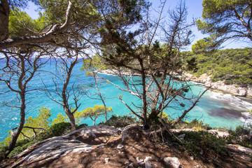 Panorama view of Cala Mitjana, Menorca, Spain