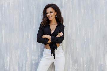 Beautiful smiling african american model posing Wall mural