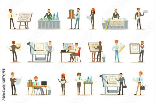 Architect Profession Set Of Vector Illustrations With Architects Simple Blueprint Interior Design Set