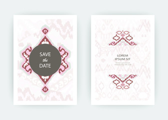 Set card ethnic bohemian arabesque pattern. Zigzag geometric abstract pastel print cover design. Tribal boho background vector illustration. Trendy template vector Wedding banner invite flyer product