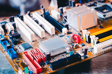 Circuit board. Electronic computer hardware technology. Shallow depth of field