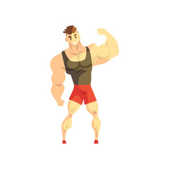 Strong muscular athletic man, sportsman character in uniform, active sport lifestyle vector Illustration on a white background