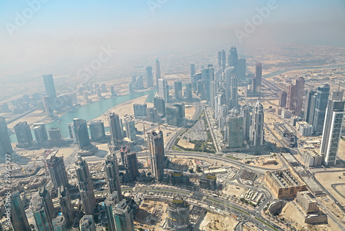 UAE  Aerial view from the height of Burj Khalifa