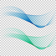 Abstract colourful wave isolated on transparent background.