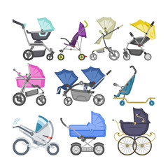Stroller vector baby-stroller and kids buggy with pram for children or childish carriage illustration set of baby-buggy for newborn with wheel and handle isolated on white background