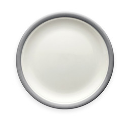 Empty ceramic plate with gray pattern edge, White round plate with grey rim, View from above isolated on white background with clipping path