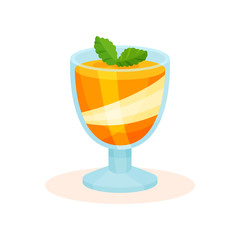 Orange layered mousse in glass cup decorated with mint vector Illustration on a white background